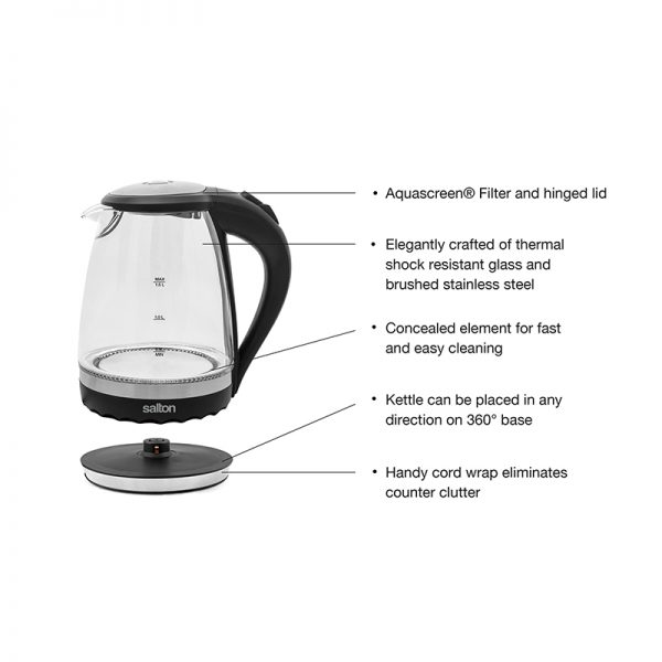 Salton Cordless Electric Compact Glass Kettle
